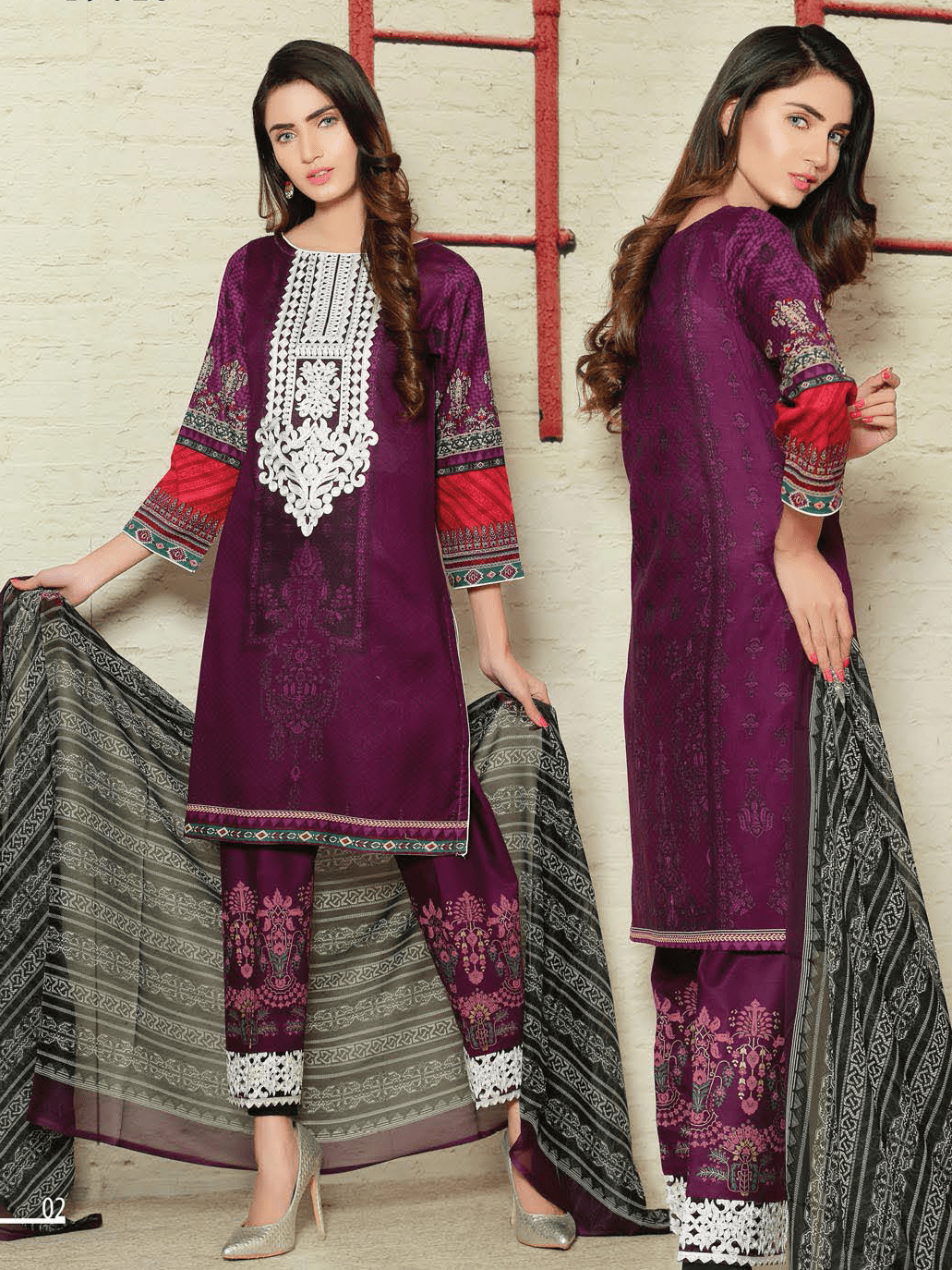 Aroosa Embroidered Swiss Lawn 2019 Unstitched 3 Piece Suit MSV-19023 - FaisalFabrics.pk