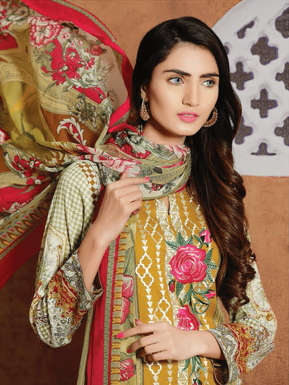 Aroosa Embroidered Swiss Lawn 2019 Unstitched 3 Piece Suit MSV-19030 - FaisalFabrics.pk
