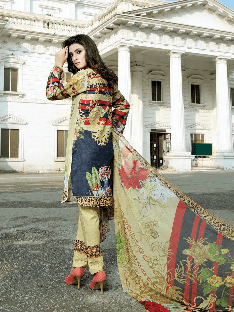 Hurrem Digital Cotton Satin Embroidered 3 Piece Suit MSV-19150 - FaisalFabrics.pk