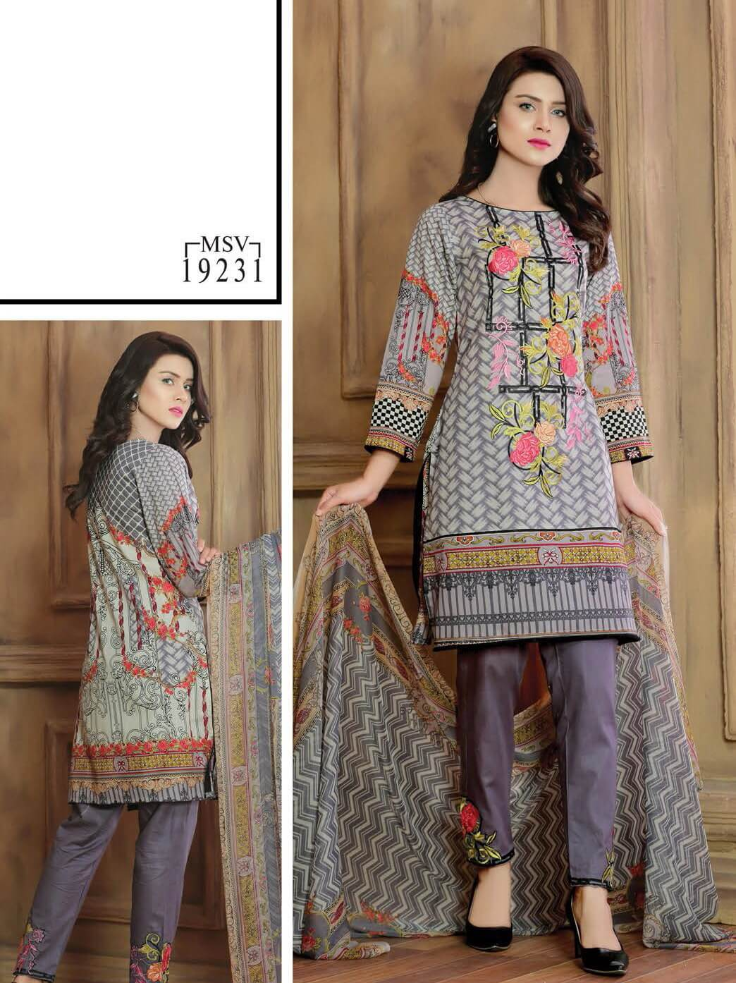 Aroosa Embroidered Lawn Summer 2019 Unstitched 3 Piece Suit MSV 19231 - FaisalFabrics.pk
