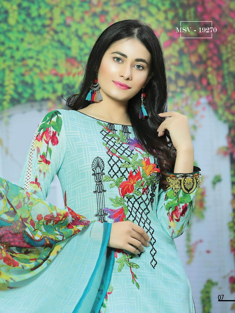 68ecf845db NOOR Embroidered Lawn Summer 2019 Unstitched 3PC Suit MSV 19270 ...