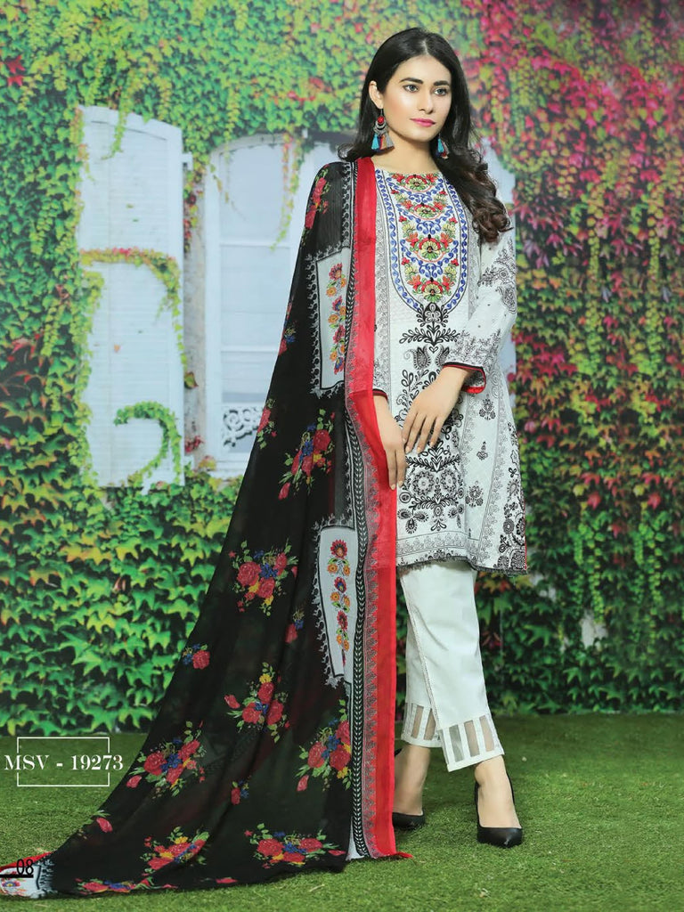 b73f99b8ed NOOR Embroidered Lawn Summer 2019 Unstitched 3PC Suit MSV 19273 ...