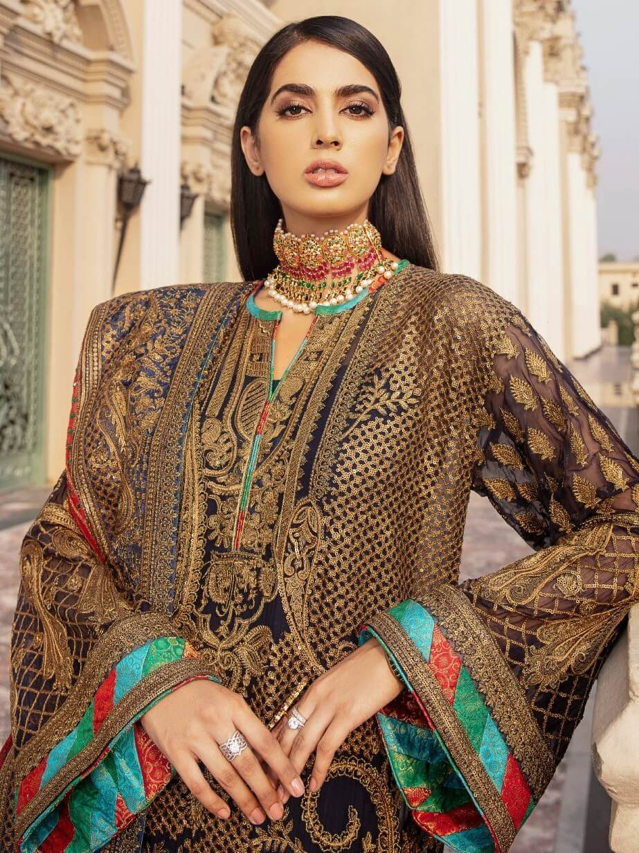 Maryum N Maria Wedding Chiffon Embroidered 3 Piece Suit MME-07