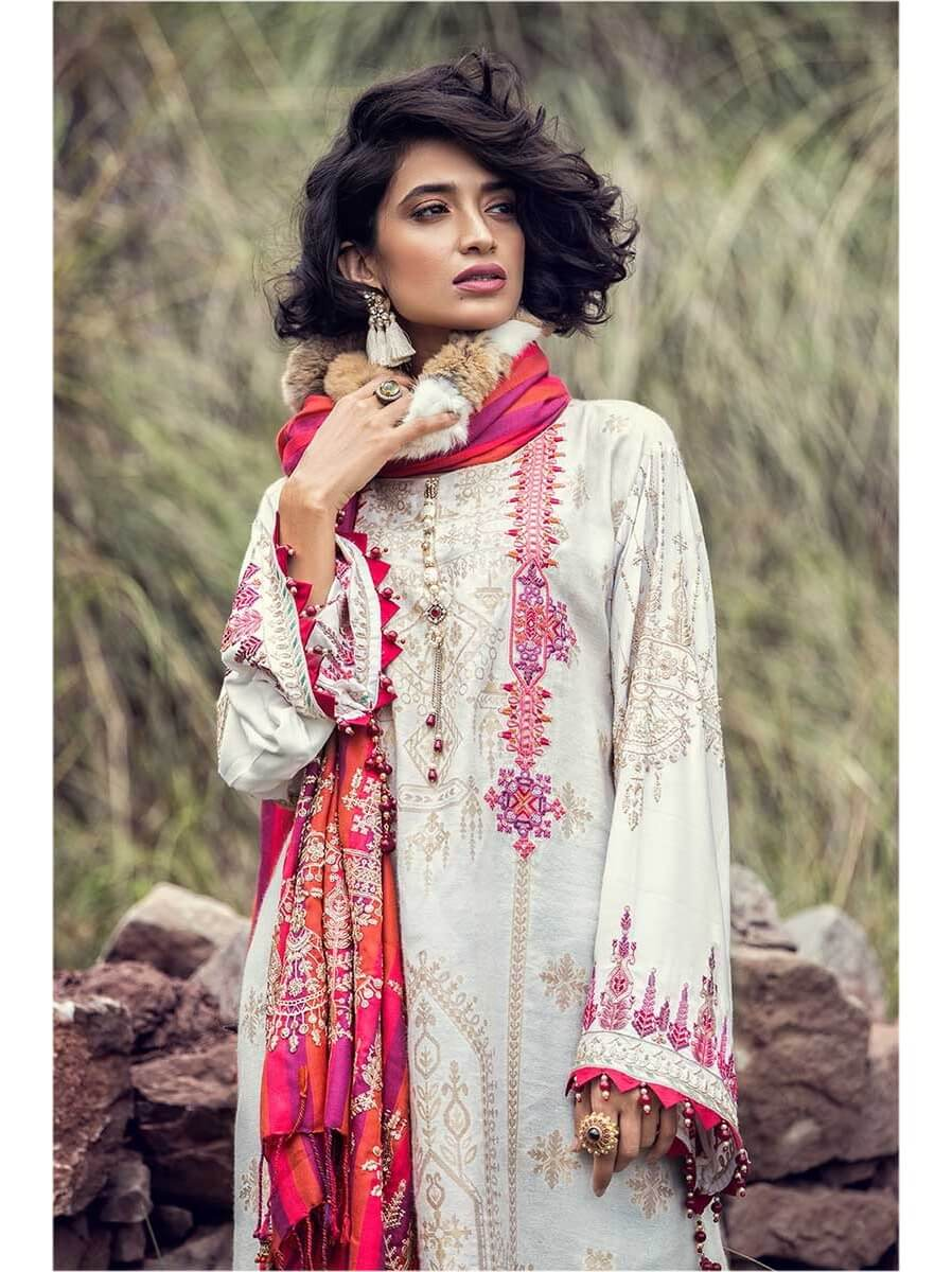 MARIA.B Linen 2019 Unstitched Embroidered 3Pc Suit DL-704 Off White - FaisalFabrics.pk