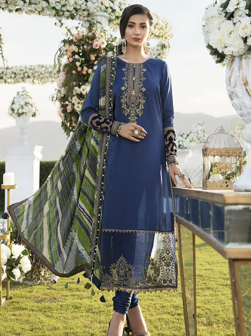 Maria B Sateen Embroidered Luxury Chiffon 3pc Suit Cst 301 Blue