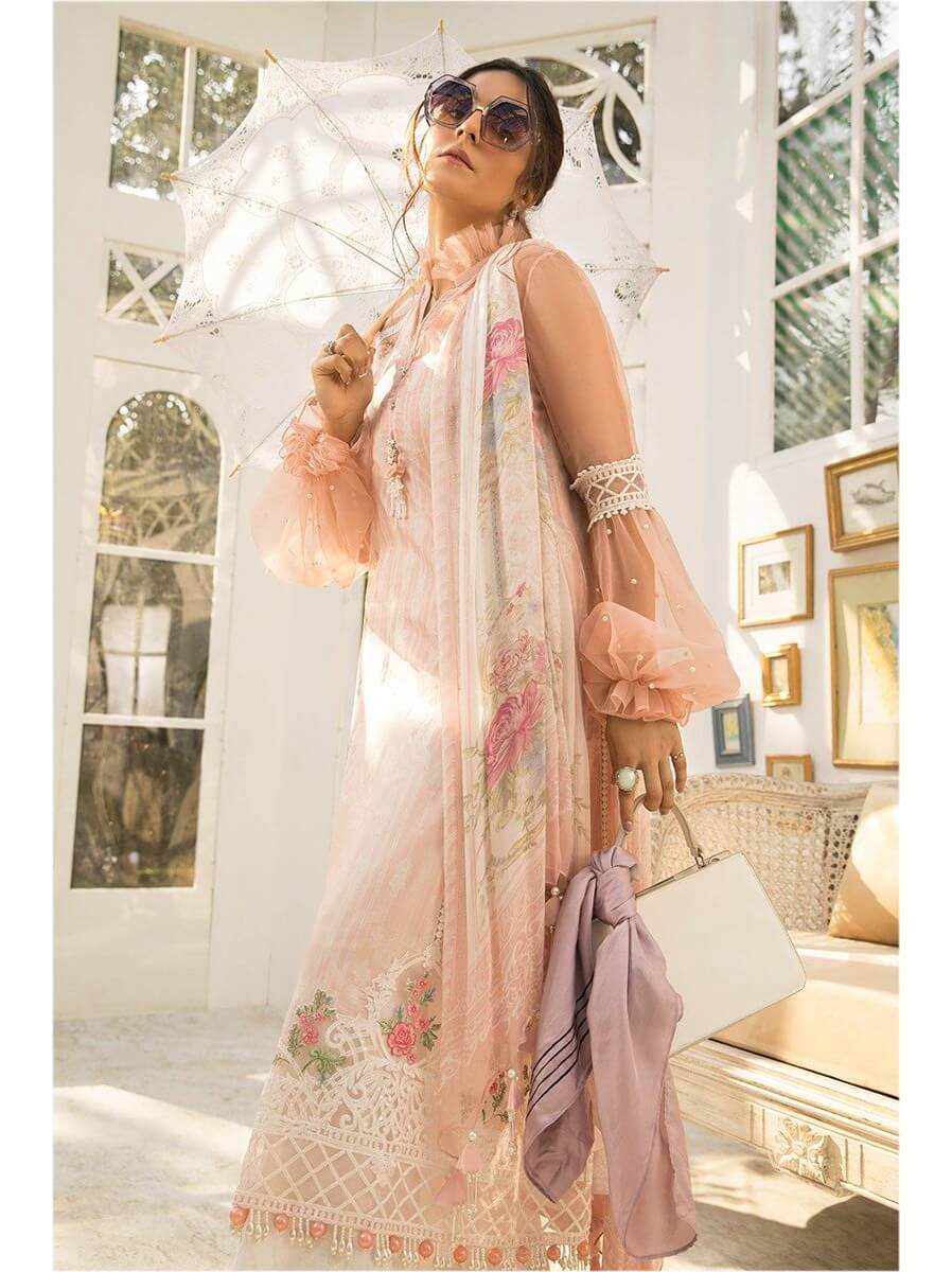 MARIA B M Prints Lawn Summer 2020 Embroidered 3PC Suit MPT-809-A - FaisalFabrics.pk