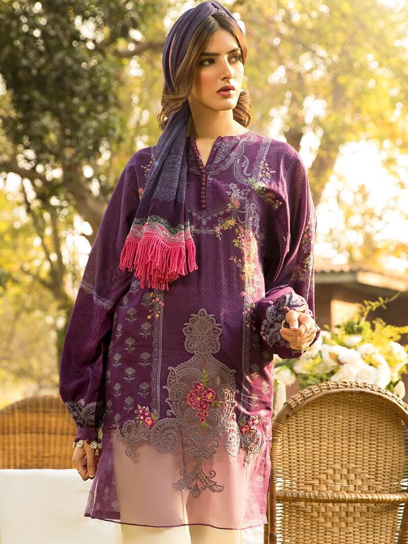 MARIA B M Prints Lawn Summer 2020 Embroidered 3PC Suit MPT-812-B - FaisalFabrics.pk
