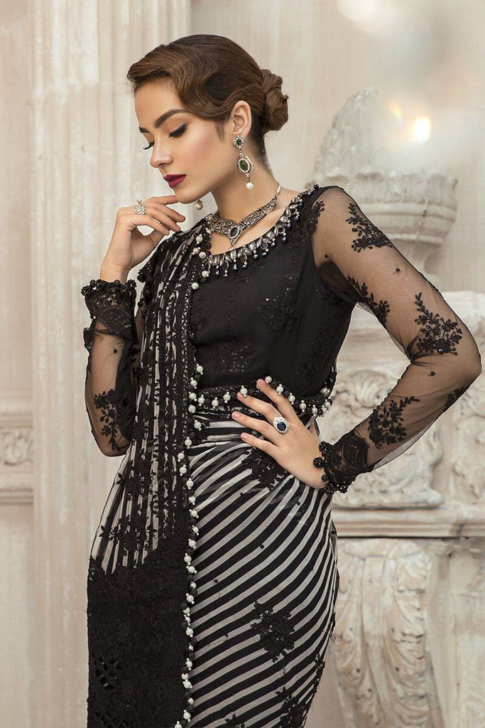 MARIA.B Mbroidered Unstitched Eid Collection Black BD-1903 - FaisalFabrics.pk