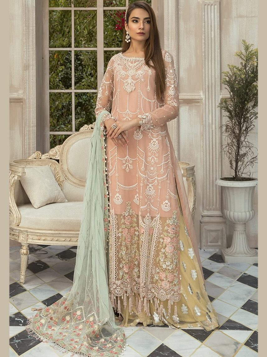 MARIA.B Mbroidered Unstitched Eid Collection Pink BD-1907 - FaisalFabrics.pk