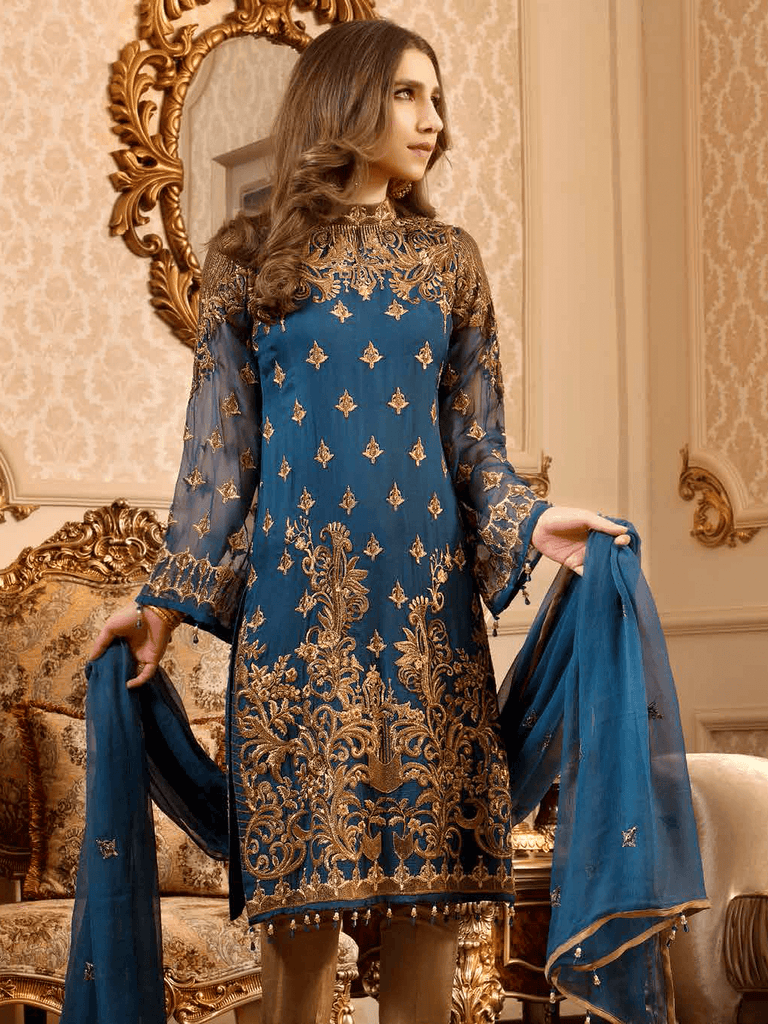 0d08a0c903 Maryum N Maria Freesia luxury Embroidered Chiffon 3Pc Suit FMM 606 ...