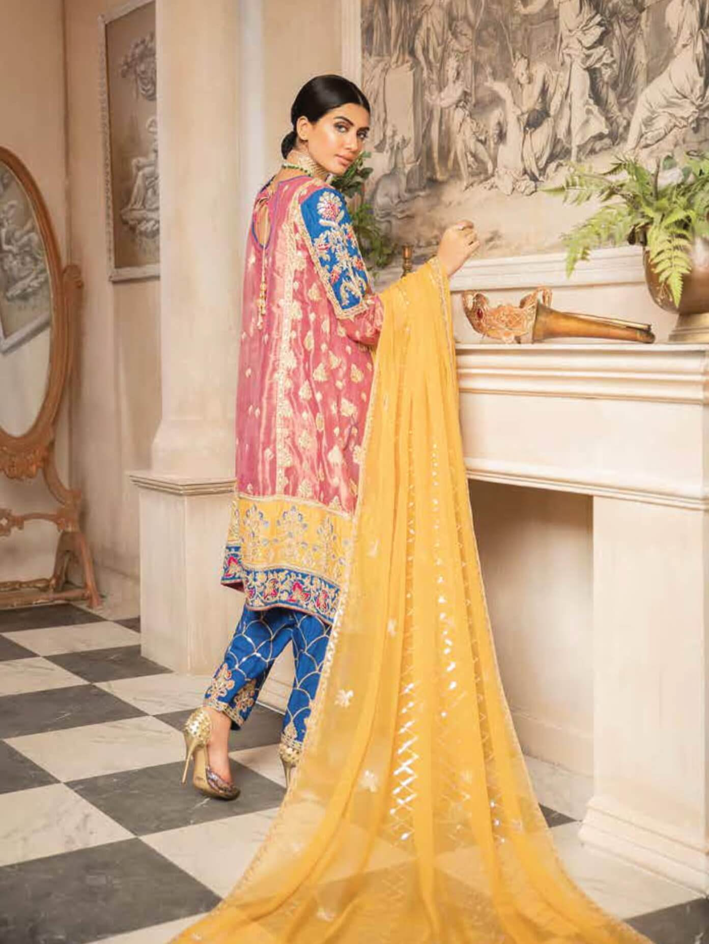 MASHQ Formal Collection Embroidered Chiffon 3Pc Suit MY-05 SADA BAHAR - FaisalFabrics.pk