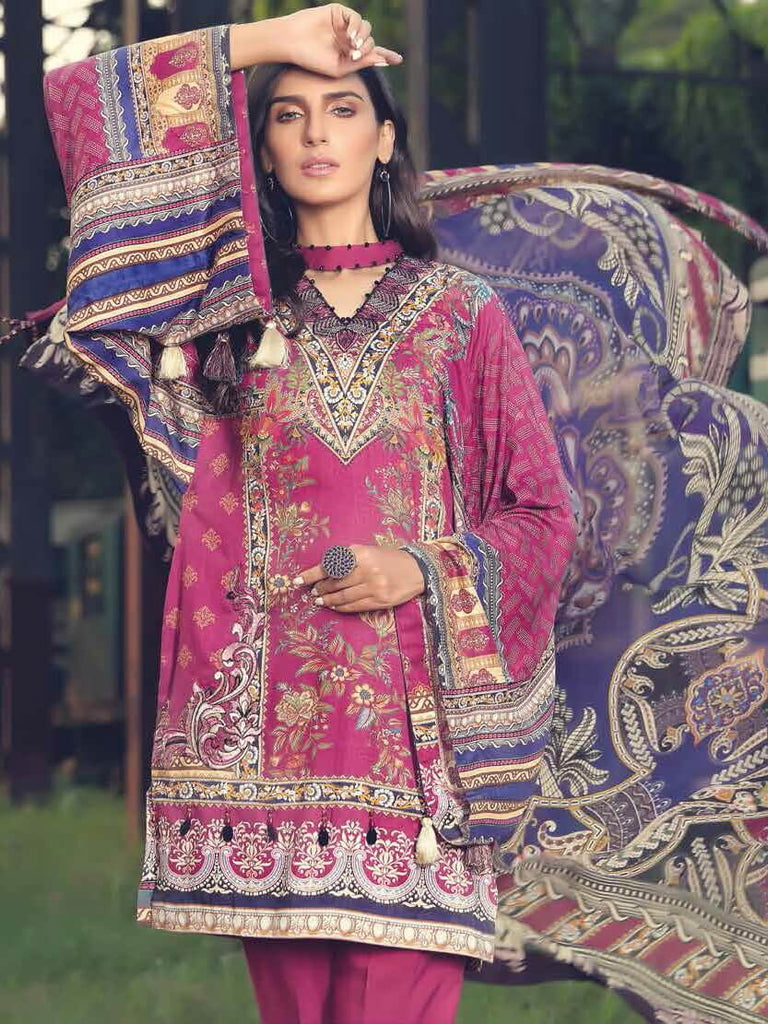 Motifz Amal Linen Fall Winter 2019 Embroidered 3 Piece Suit 2390-MAHOGANY