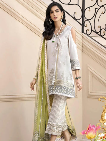 Noor By Saadia Asad Luxury Lawn 2020 Embroidered 3PC Suit D-01A