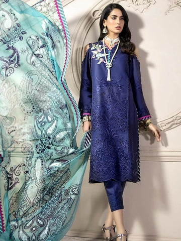 Noor By Saadia Asad Luxury Lawn 2020 Embroidered 3PC Suit D-02B