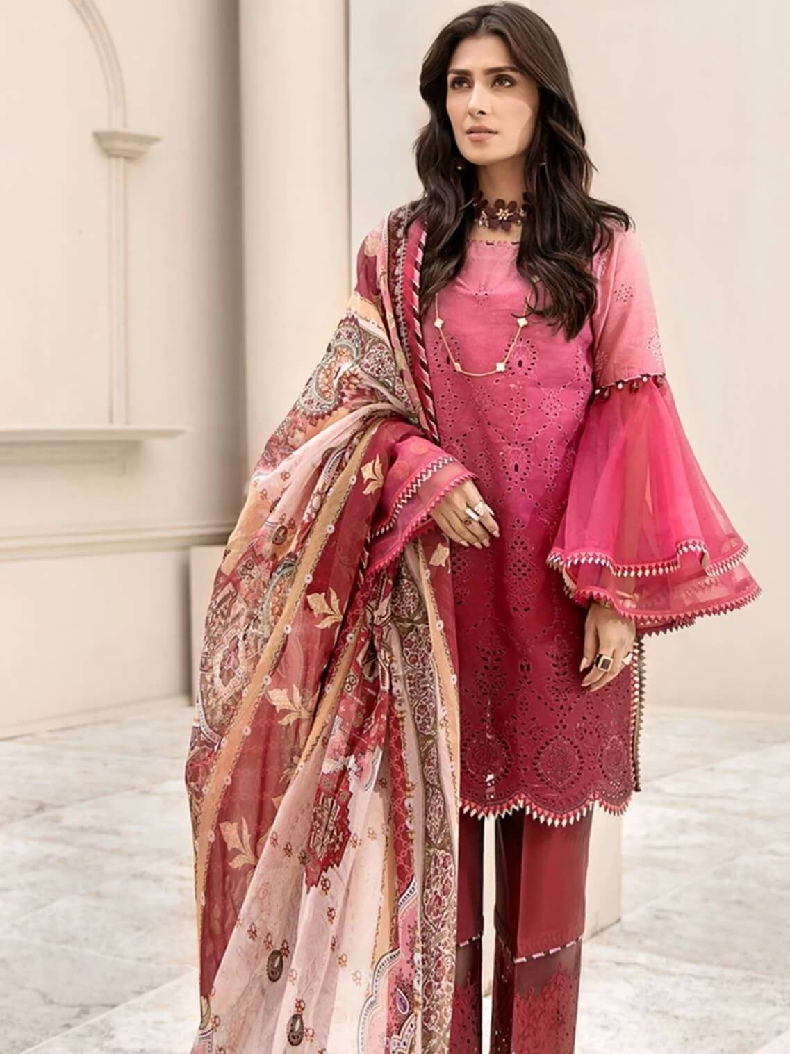 Noor By Saadia Asad Luxury Lawn 2020 Embroidered 3PC Suit D-04A - FaisalFabrics.pk