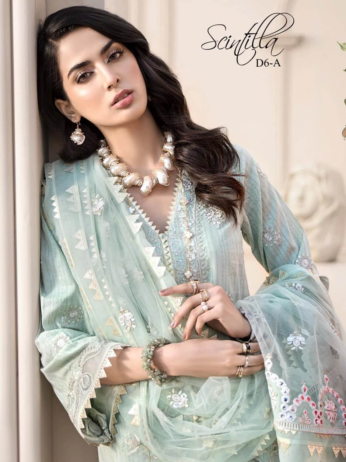Noor By Saadia Asad Luxury Lawn 2020 Embroidered 3PC Suit D-06A - FaisalFabrics.pk