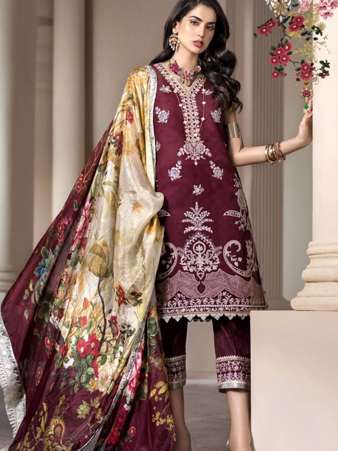 Noor By Saadia Asad Luxury Lawn 2020 Embroidered 3PC Suit D-08B - FaisalFabrics.pk