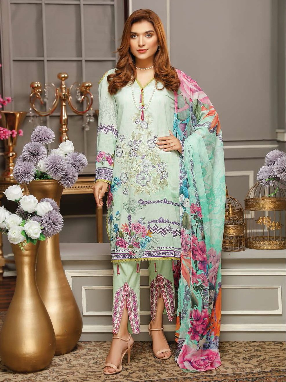 Panache Digital Embroidered Lawn Unstitched 3PC Suit PN-04 - FaisalFabrics.pk