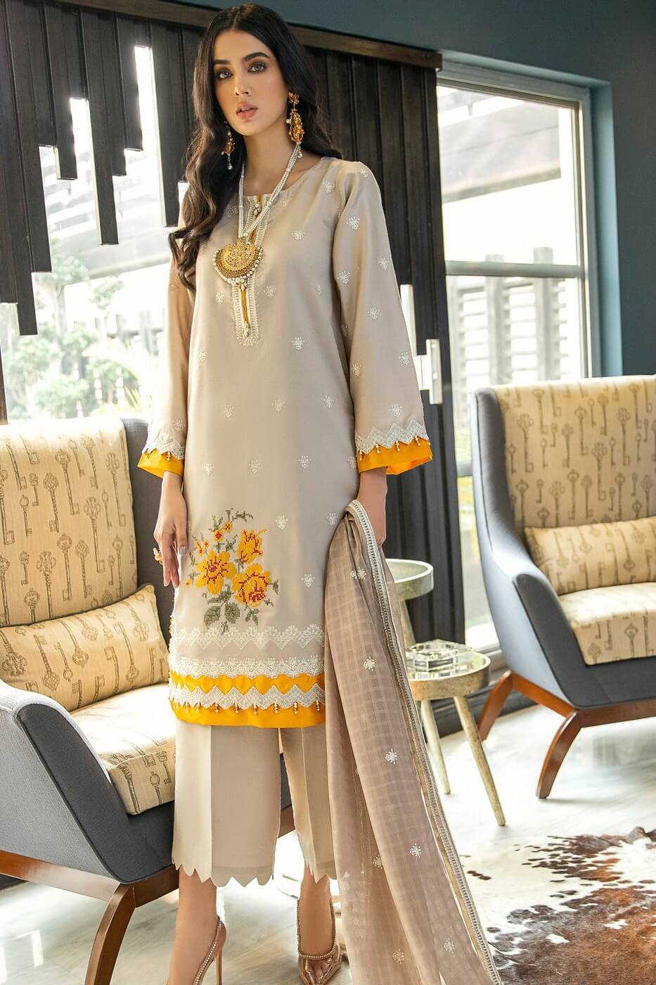 Panache By Puri Fabrics Embroidered Lawn 3 Piece Unstitched Suit P-01