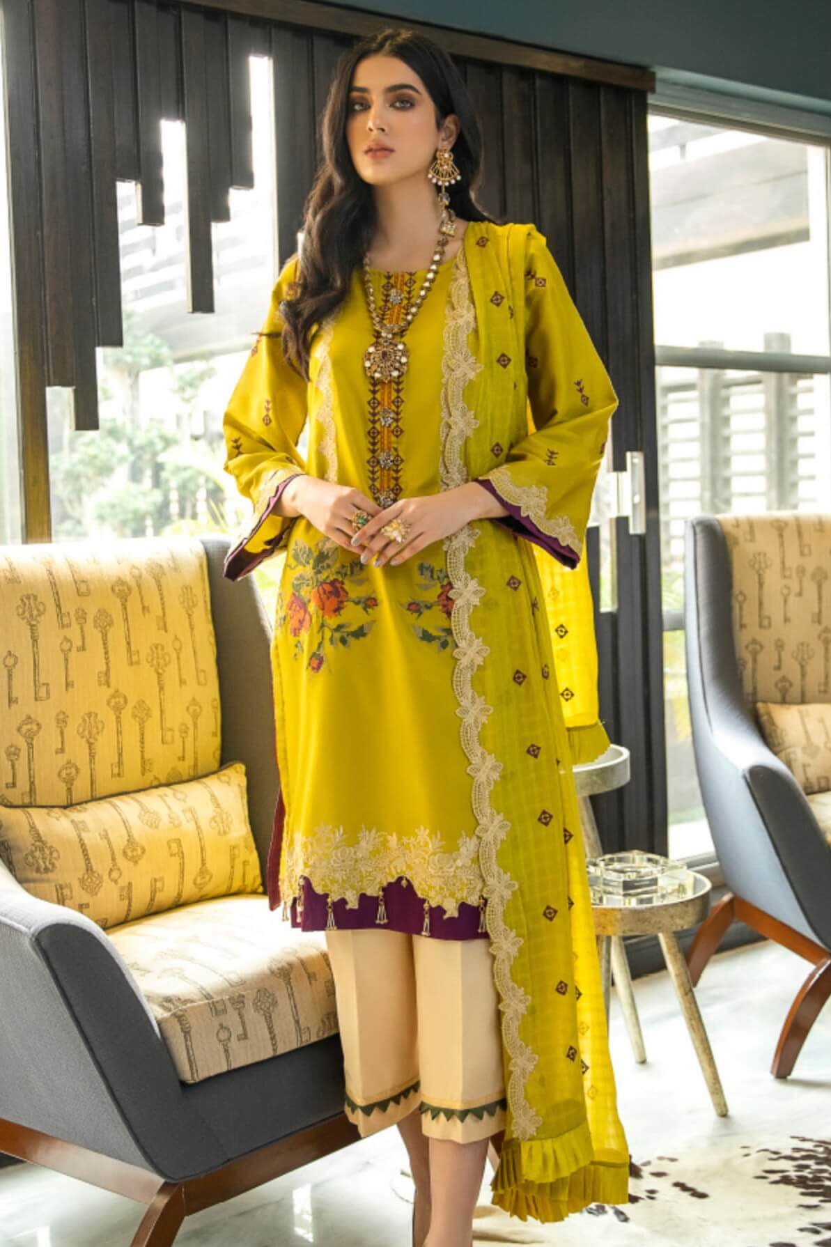 Panache By Puri Fabrics Embroidered Lawn 3 Piece Unstitched Suit P-02