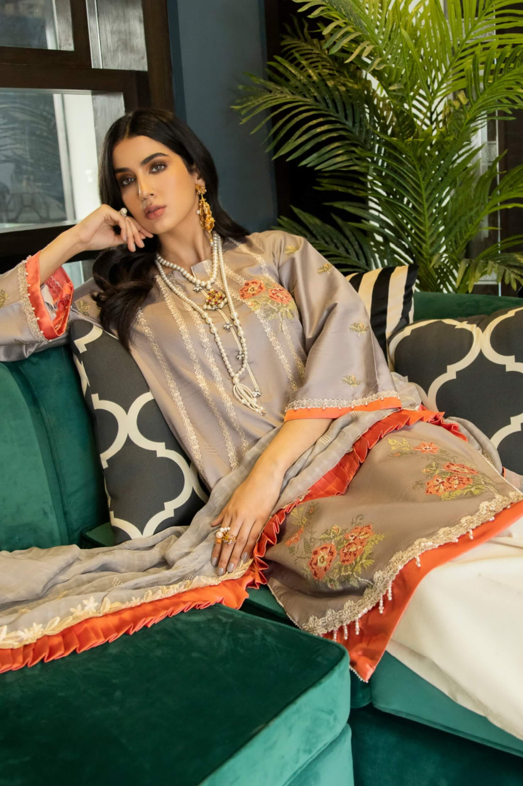 Panache By Puri Fabrics Embroidered Lawn 3 Piece Unstitched Suit P-03