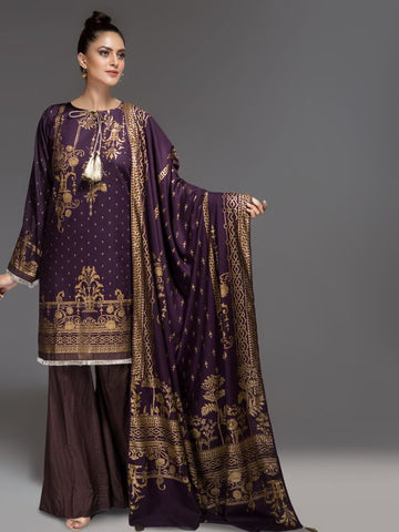 ITTEHAD German Linen 2019 Unstitched Print 3Pc Suit Purple
