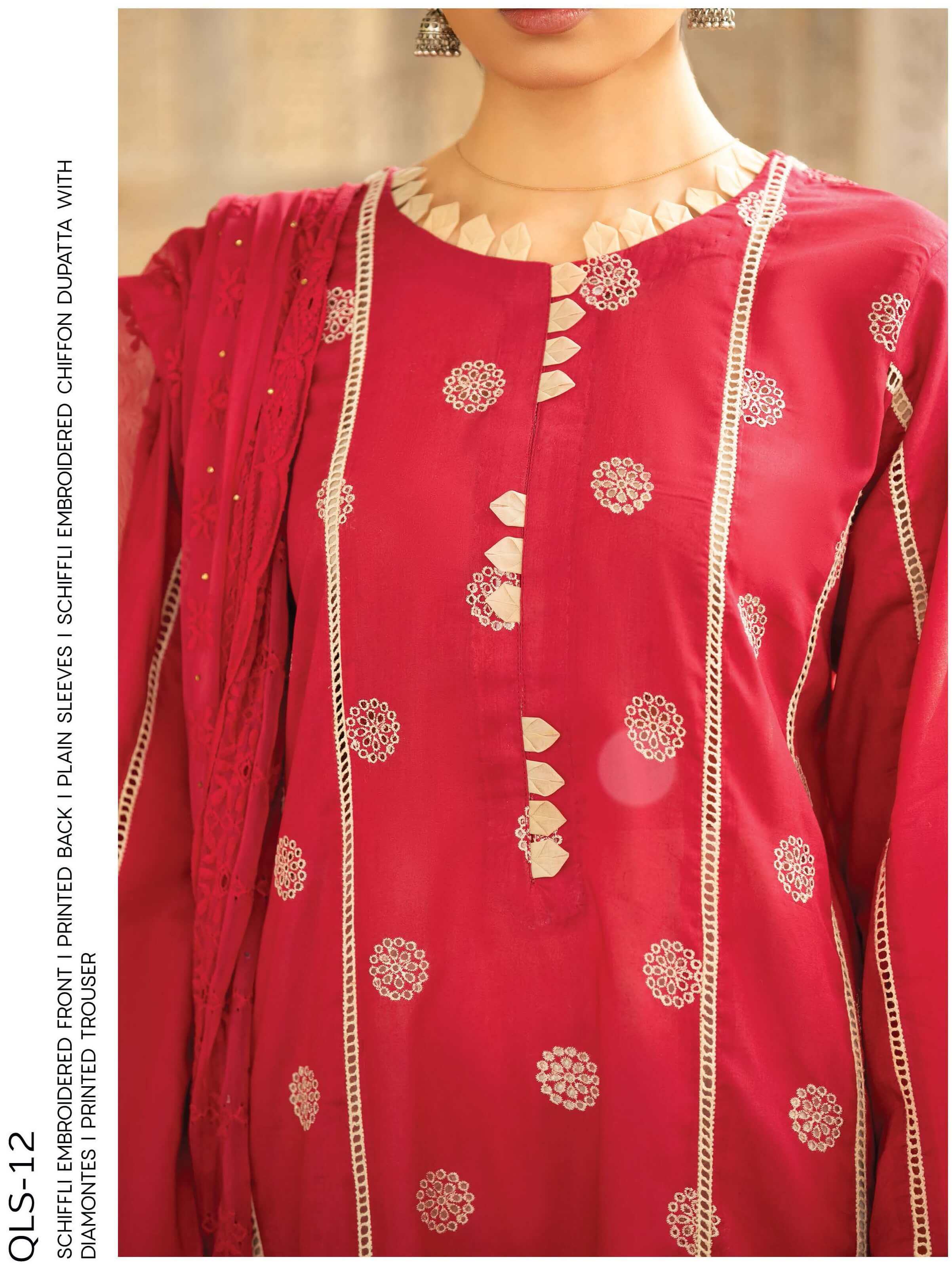 Qalamkar QLine Lawn Collection 2020 Embroidered 3 Piece Suit QLS-12 - FaisalFabrics.pk