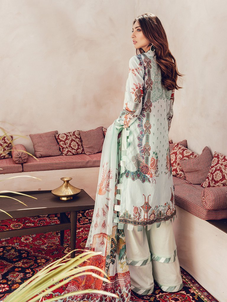 RajBari Premium Festive Embroidered Lawn Collection 2020 3pc Suit D-7A - FaisalFabrics.pk