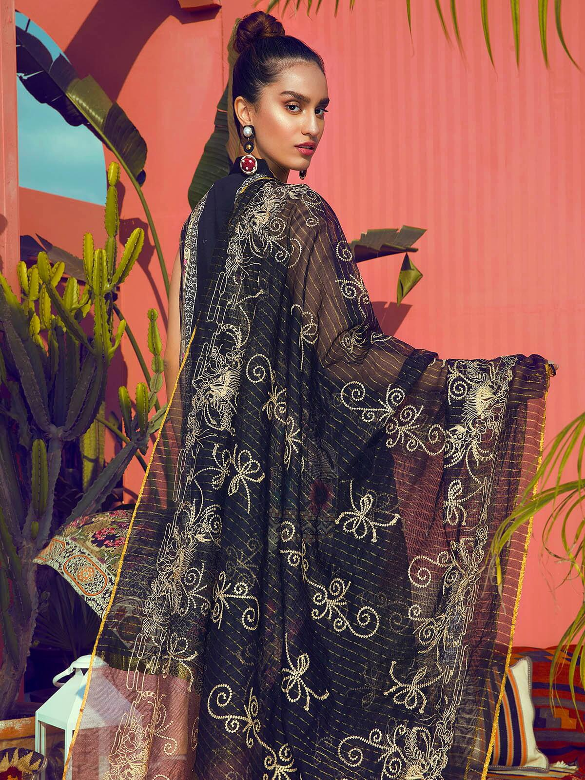 RajBari Luxury Embroidered Lawn 2019 Unstitched 3 Piece Suit 1A - FaisalFabrics.pk