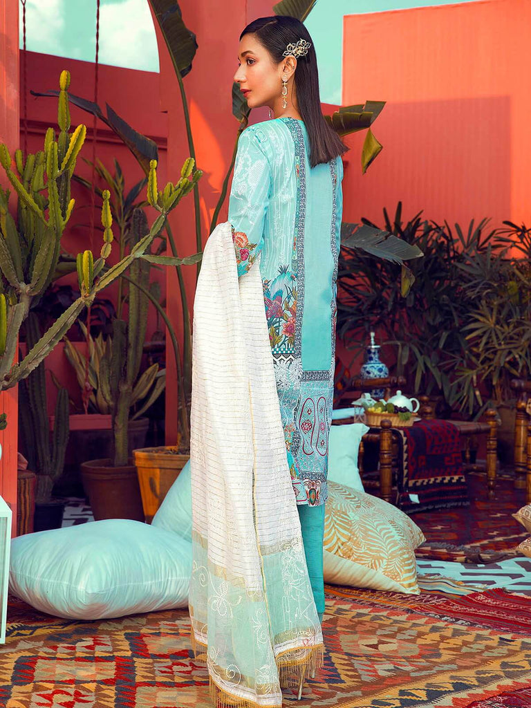 RajBari Luxury Embroidered Lawn 2019 Unstitched 3 Piece Suit 1B