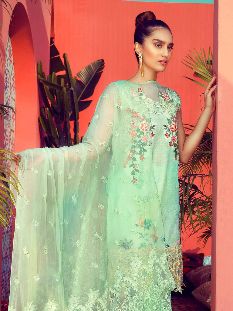 RajBari Luxury Embroidered Lawn 2019 Unstitched 3 Piece Suit 2B