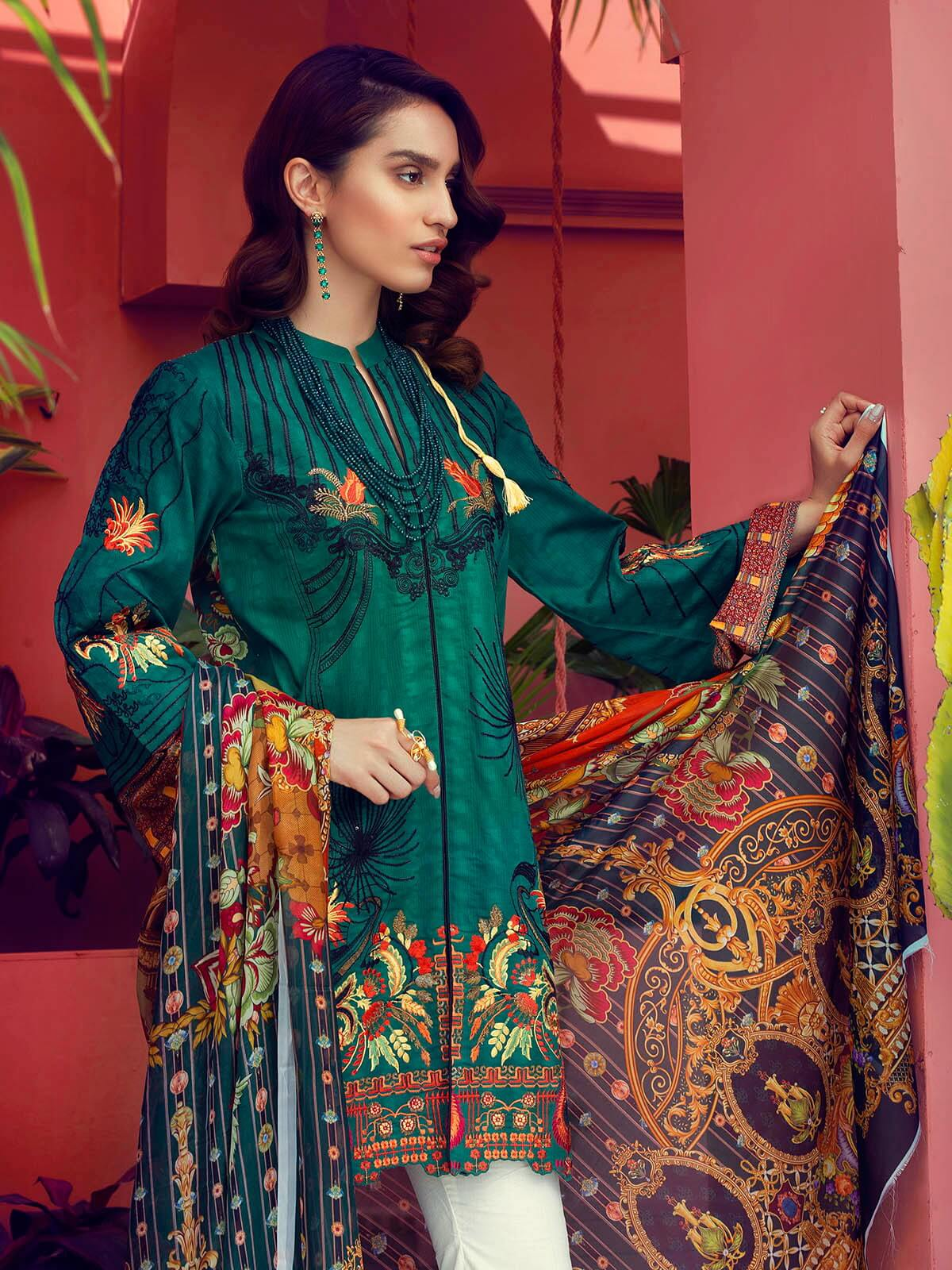 RajBari Luxury Embroidered Lawn 2019 Unstitched 3 Piece Suit 4A - FaisalFabrics.pk