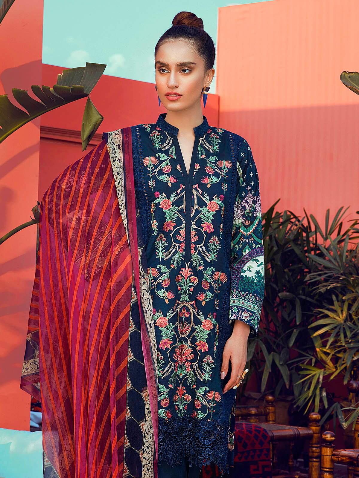 RajBari Luxury Embroidered Lawn 2019 Unstitched 3 Piece Suit 6B - FaisalFabrics.pk