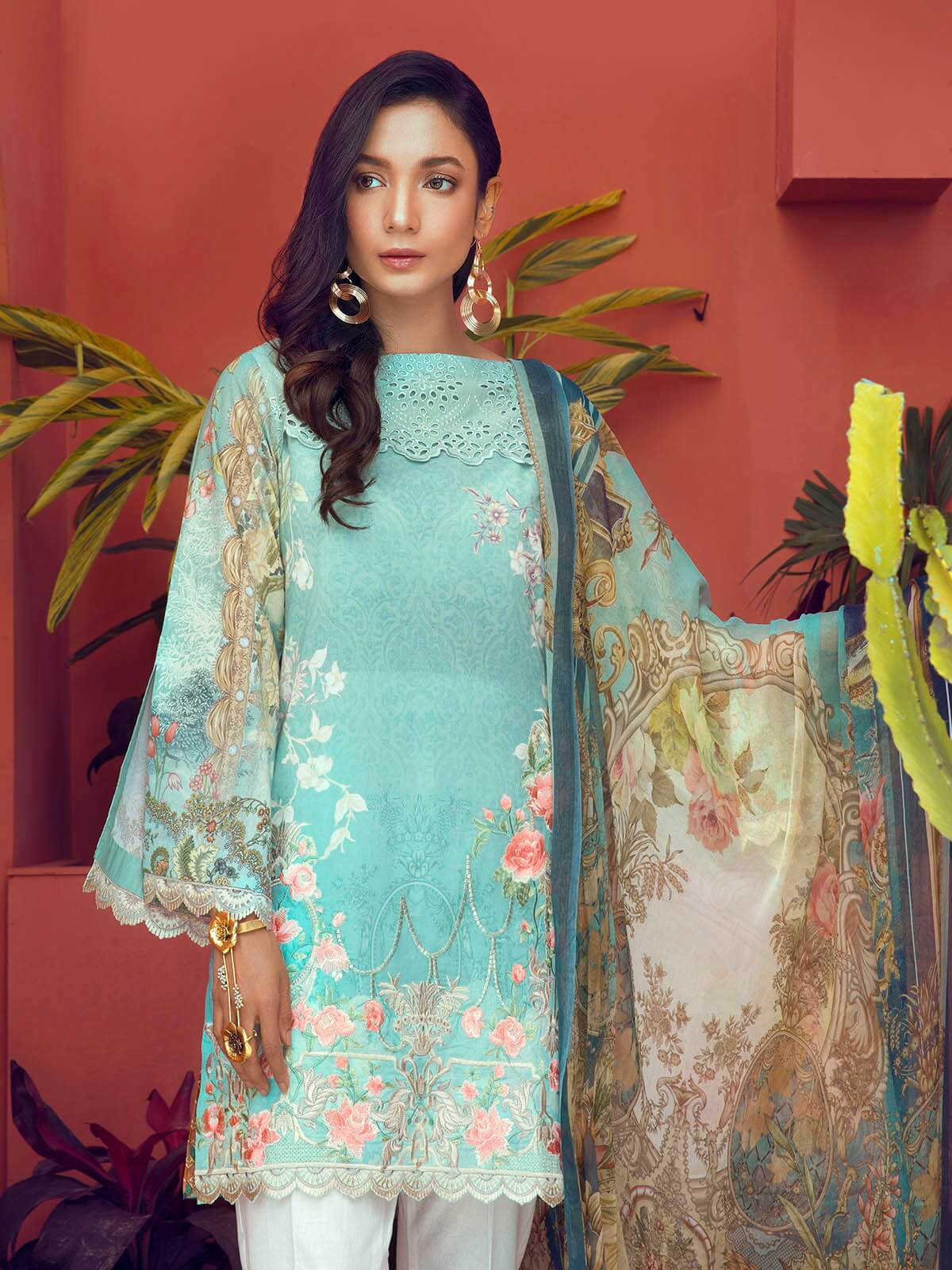RajBari Luxury Embroidered Lawn 2019 Unstitched 3 Piece Suit 7A - FaisalFabrics.pk