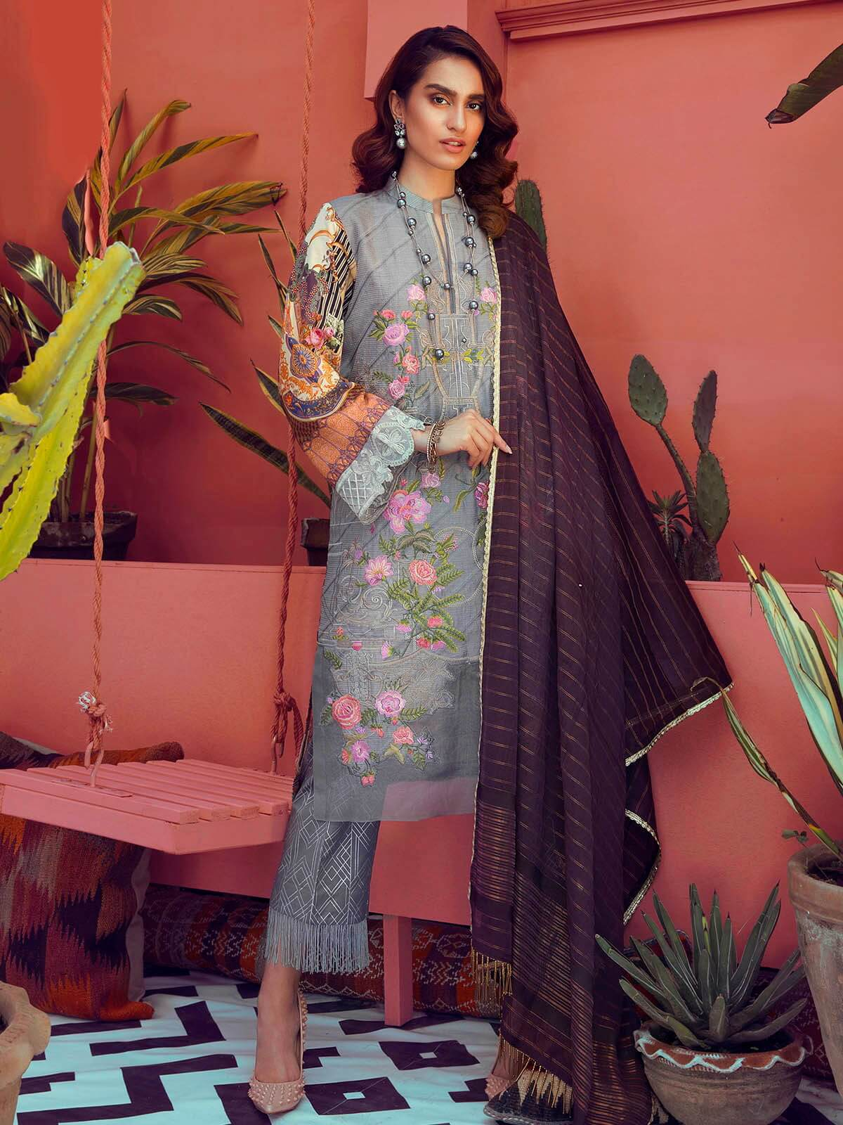 RajBari Luxury Embroidered Lawn 2019 Unstitched 3 Piece Suit 8A - FaisalFabrics.pk