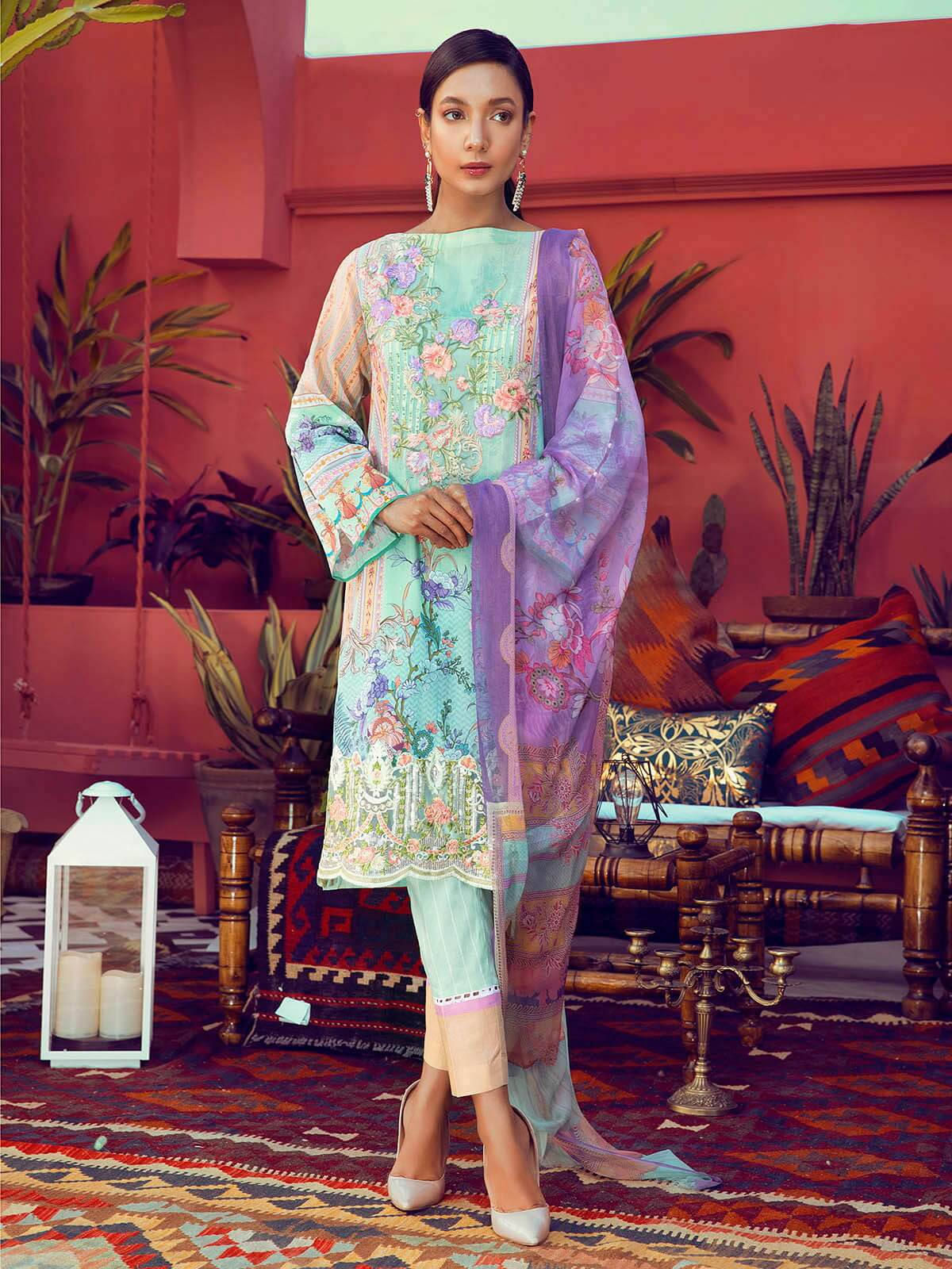 RajBari Luxury Embroidered Lawn 2019 Unstitched 3 Piece Suit 9B - FaisalFabrics.pk