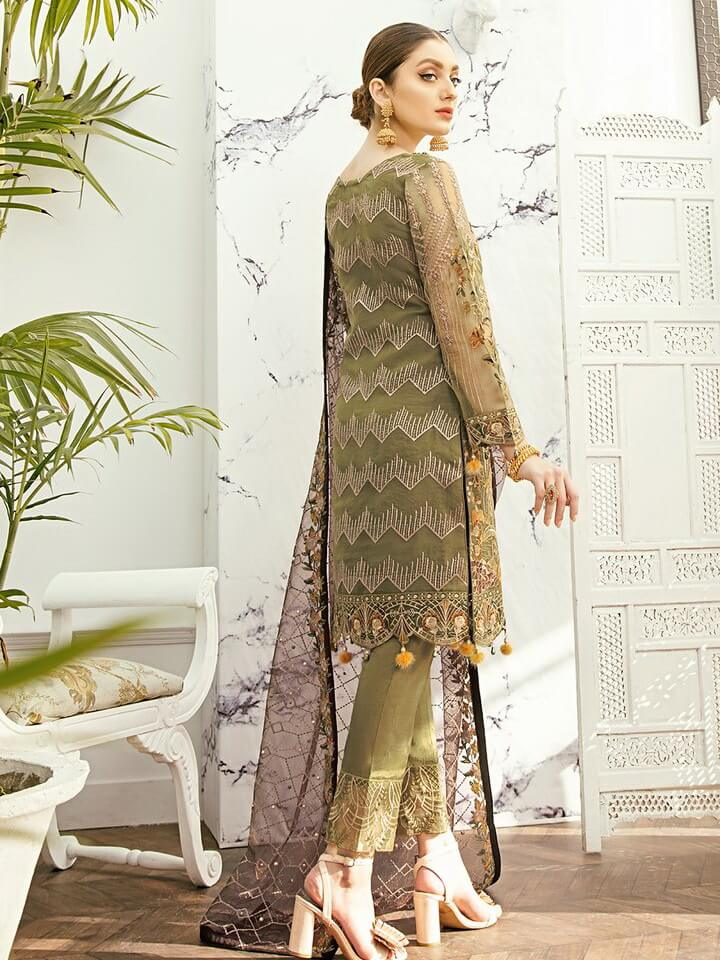 Ramsha Minhal Vol 2 Embroidered Organza Collection 2020 3Pc Suit M-203 - FaisalFabrics.pk