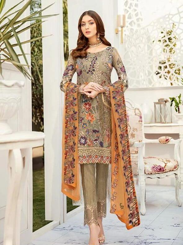 Ramsha Rangoon Luxury Chiffon Vol-5 Embroidered 3Pc Suit D-505 - FaisalFabrics.pk