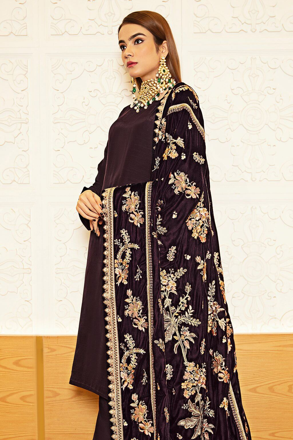 Ramsha Raw Silk with Embroidered Velvet Shawl Unstitched 3Pc Suit V-210