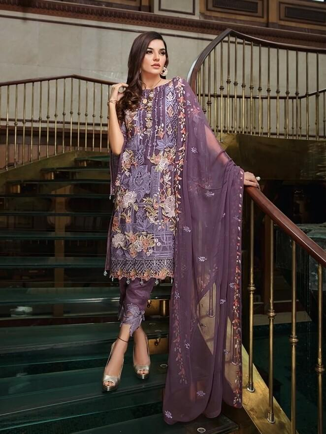Ramsha Luxury Chiffon Vol-18 Embroidered 3Pc Suit F-1806 - FaisalFabrics.pk