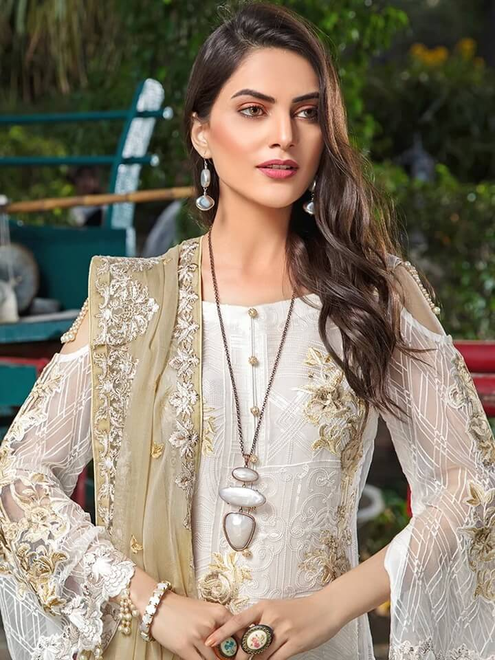 Ramsha Luxury Chiffon Vol-18 Embroidered 3Pc Suit F-1807 - FaisalFabrics.pk