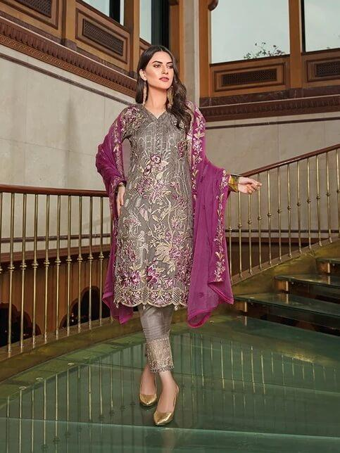 Ramsha Luxury Chiffon Vol-18 Embroidered 3Pc Suit F-1808 - FaisalFabrics.pk