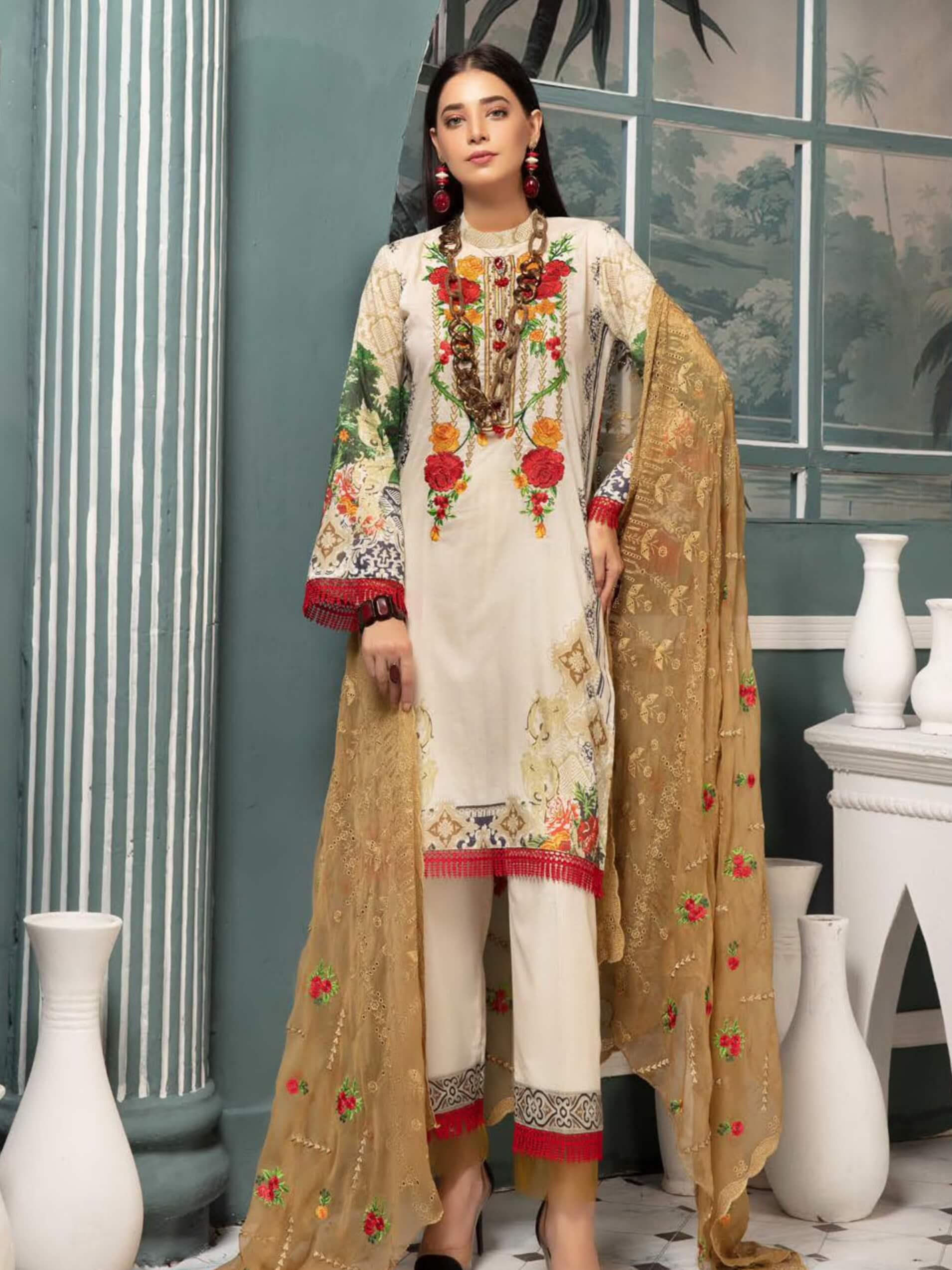 Riaz Arts Mahee's Digital Embroidered Lawn Unstitched 3pc Suit D-02 - FaisalFabrics.pk