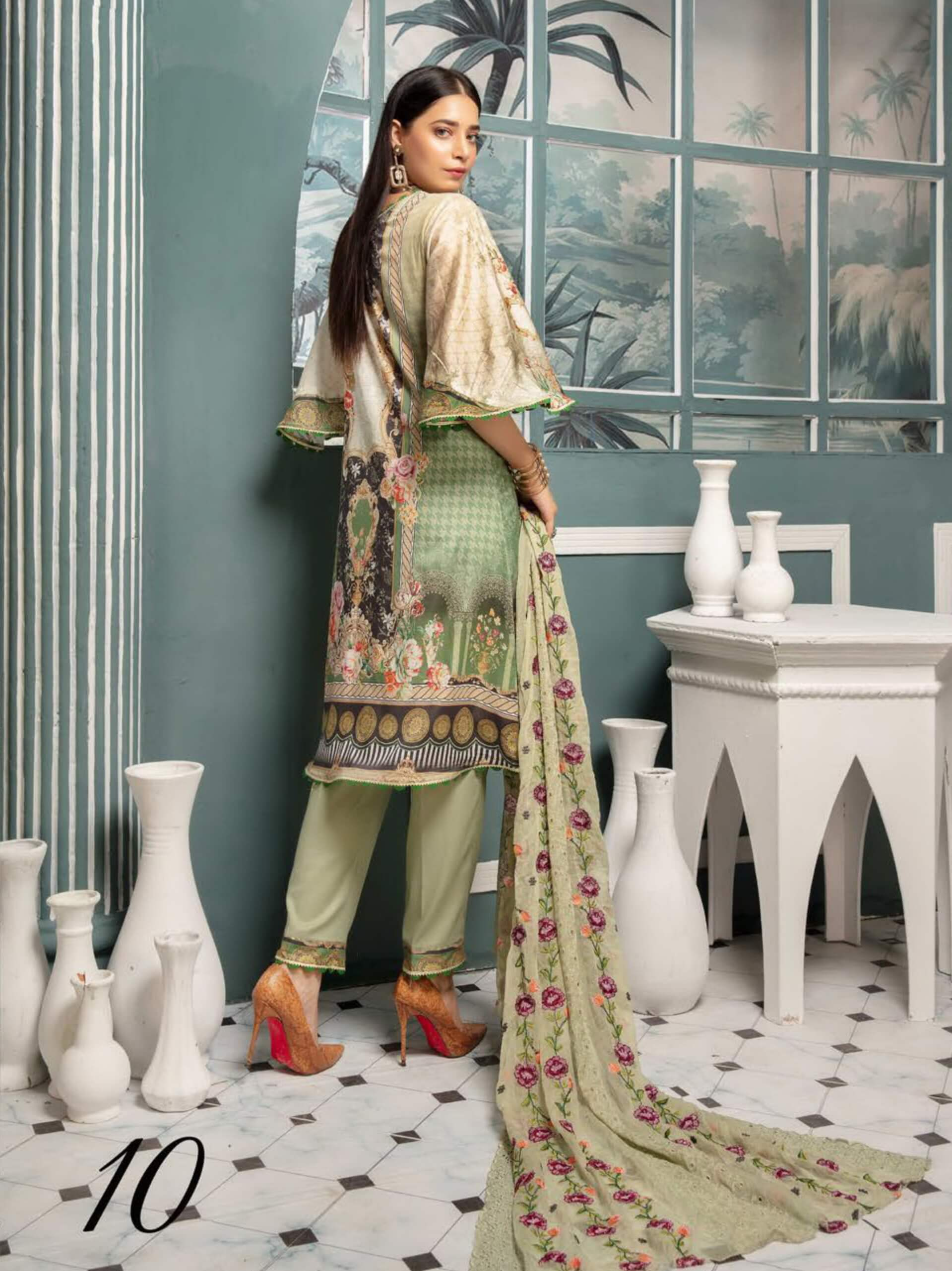 Riaz Arts Mahee's Digital Embroidered Lawn Unstitched 3pc Suit D-10 - FaisalFabrics.pk