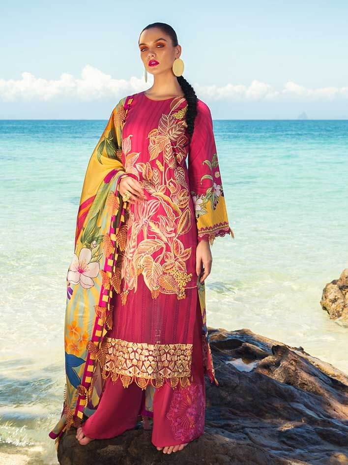 RangRasiya Luxury Lawn 2020 Unstitched Embroidered 3pc Suit SS-102 - FaisalFabrics.pk