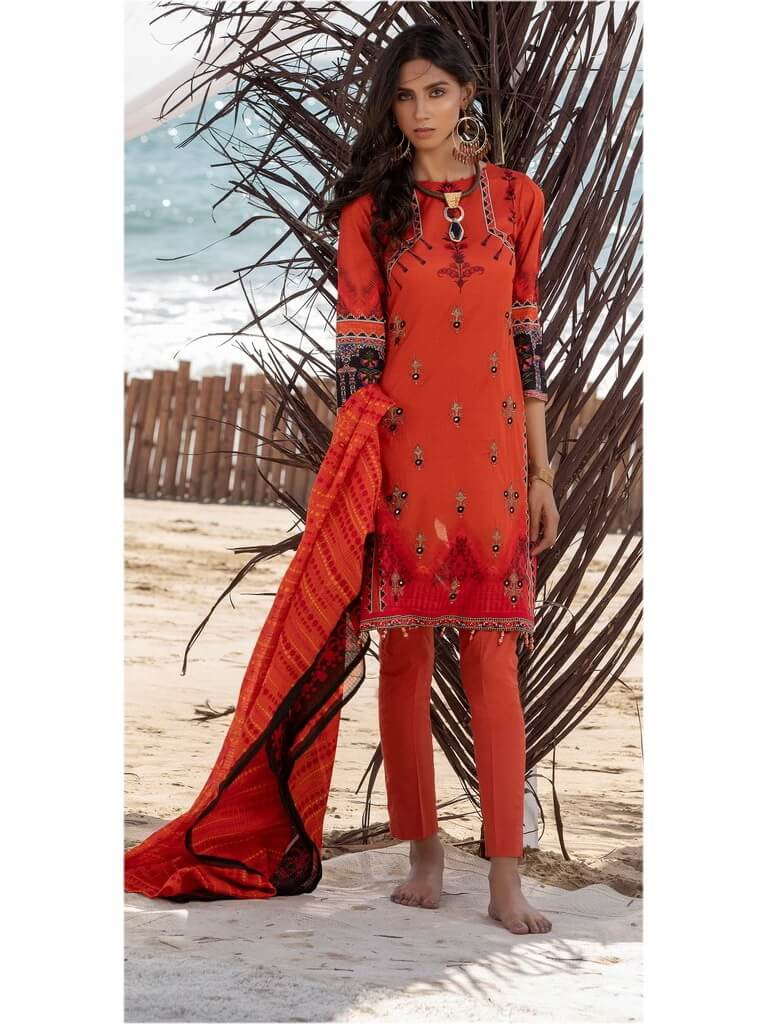 Salitex 3pc Embroidered Lawn Suit with Fancy Printed Check Dupatta WK-492B - FaisalFabrics.pk