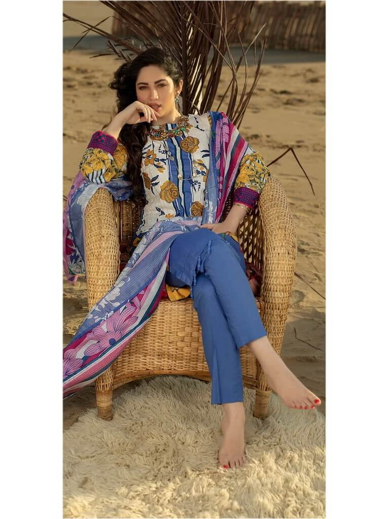 Salitex 3pc Embroidered Lawn Suit with Fancy Printed Check Dupatta WK-493B - FaisalFabrics.pk