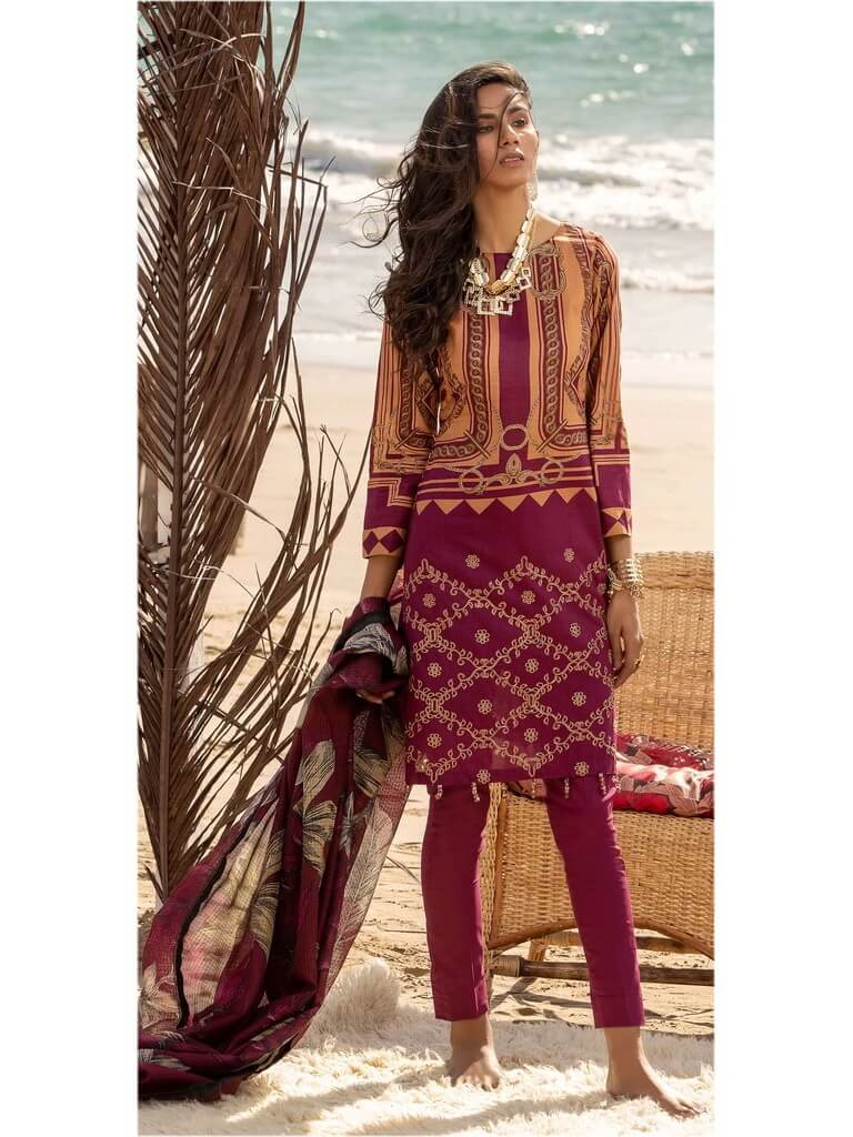 Salitex 3pc Embroidered Lawn Suit with Fancy Printed Check Dupatta WK-495A - FaisalFabrics.pk