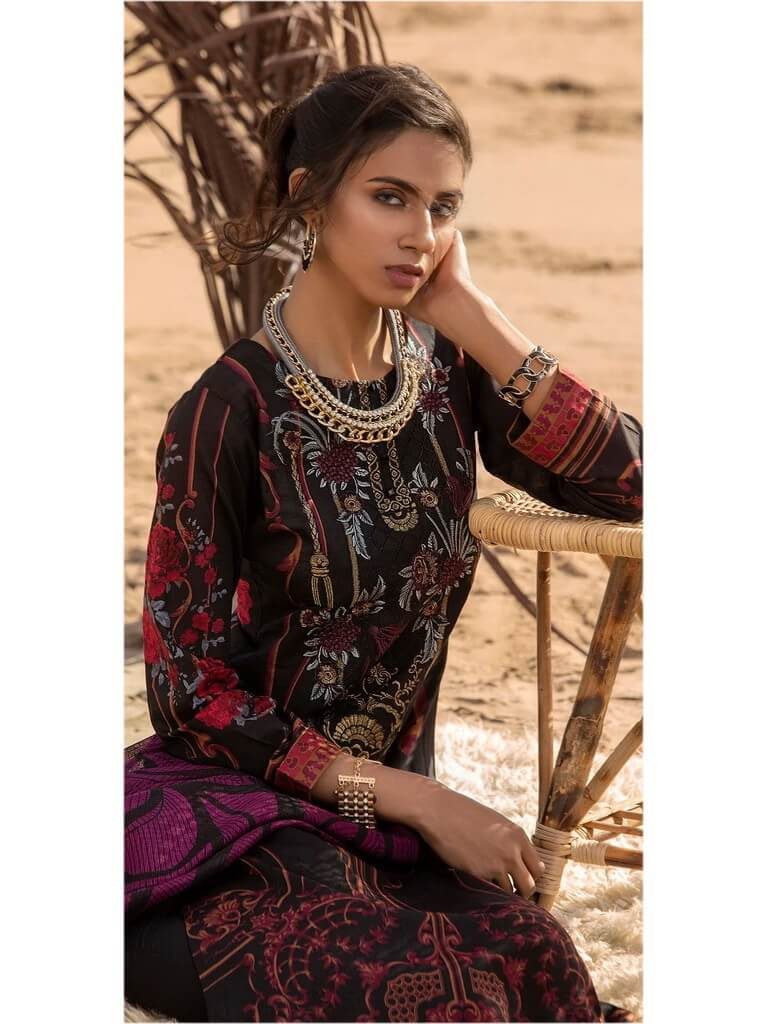 Salitex 3pc Embroidered Lawn Suit with Fancy Printed Check Dupatta WK-496A - FaisalFabrics.pk