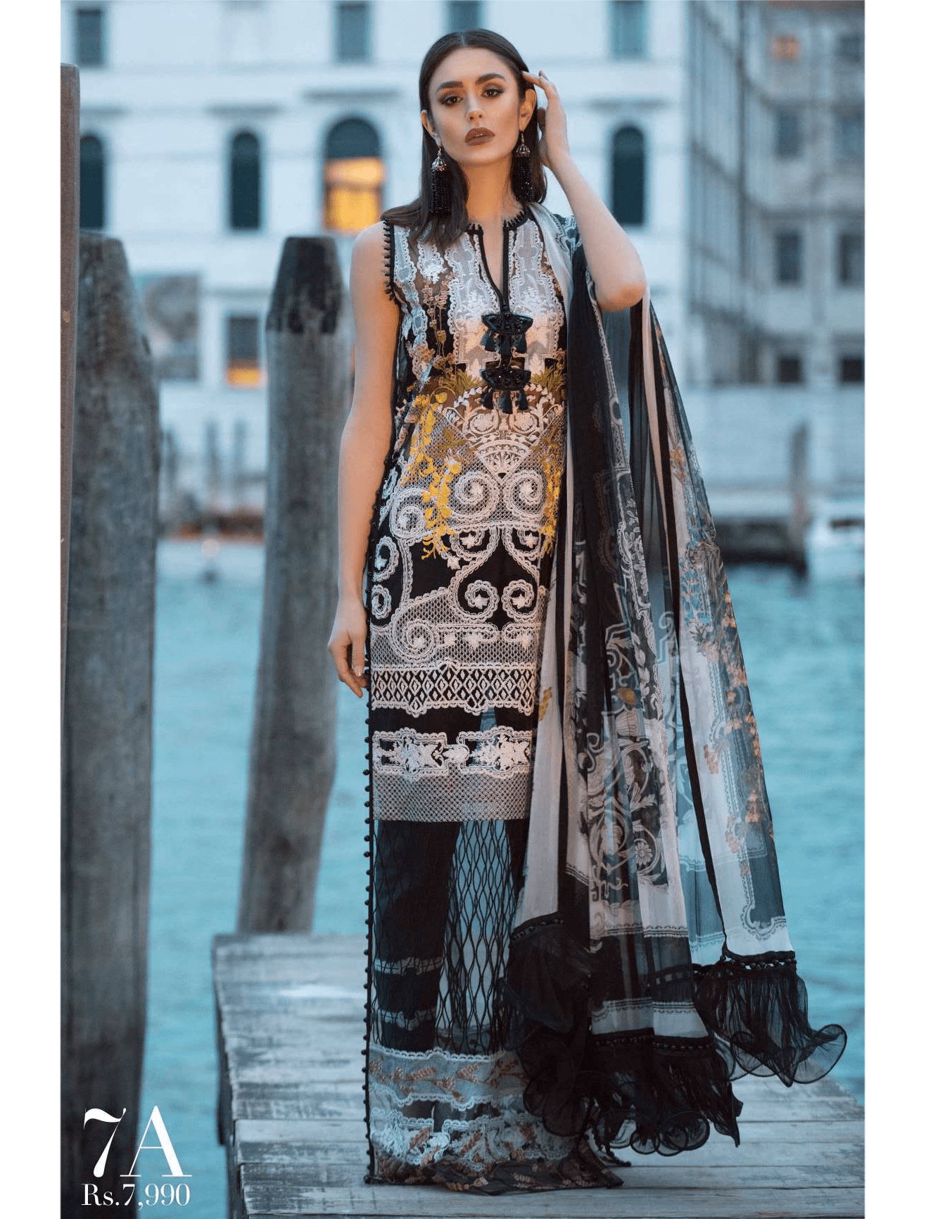 Sana Safinaz Luxury Lawn Summer 2019 Unstitched 3PC Suit SS-19-7A - FaisalFabrics.pk